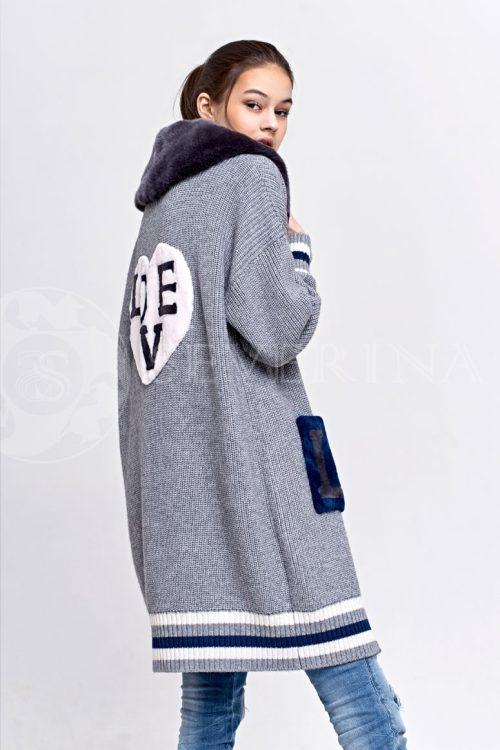 seryj 2 500x750 - вязаный кардиган цвета серый меланж с меховой отделкой