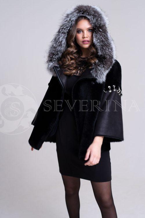 куртка-дубленка из меха овчины с отделкой мехом чернобурки