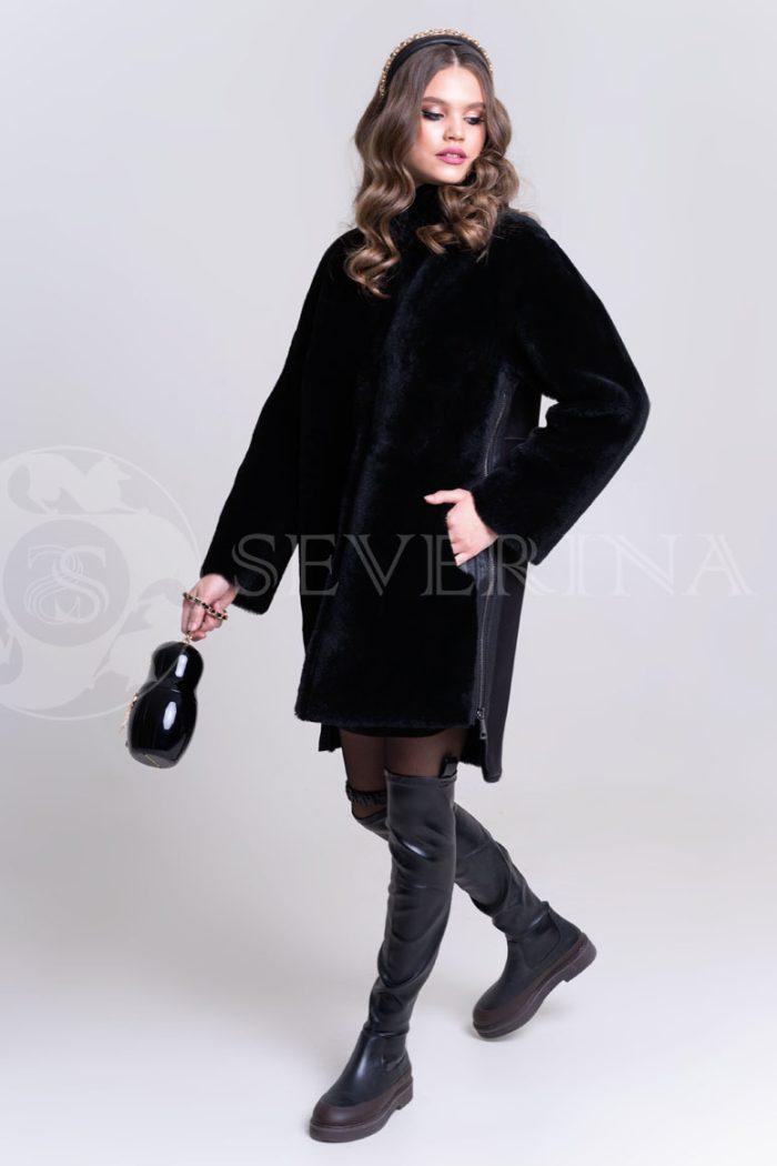 куртка-дубленка из овчины с принтом из страз