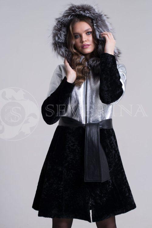 куртка-дубленка из металлизированной кожи и овчины с отделкой мехом чернобурки