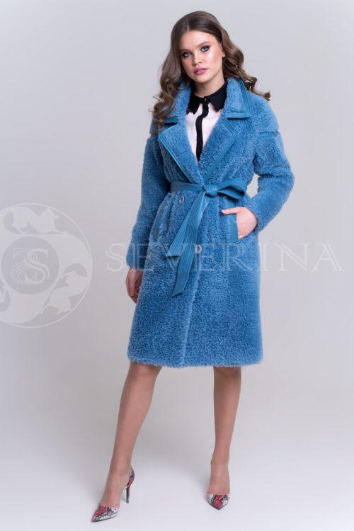 пальто из овечьей шерсти с кожаной отделкой