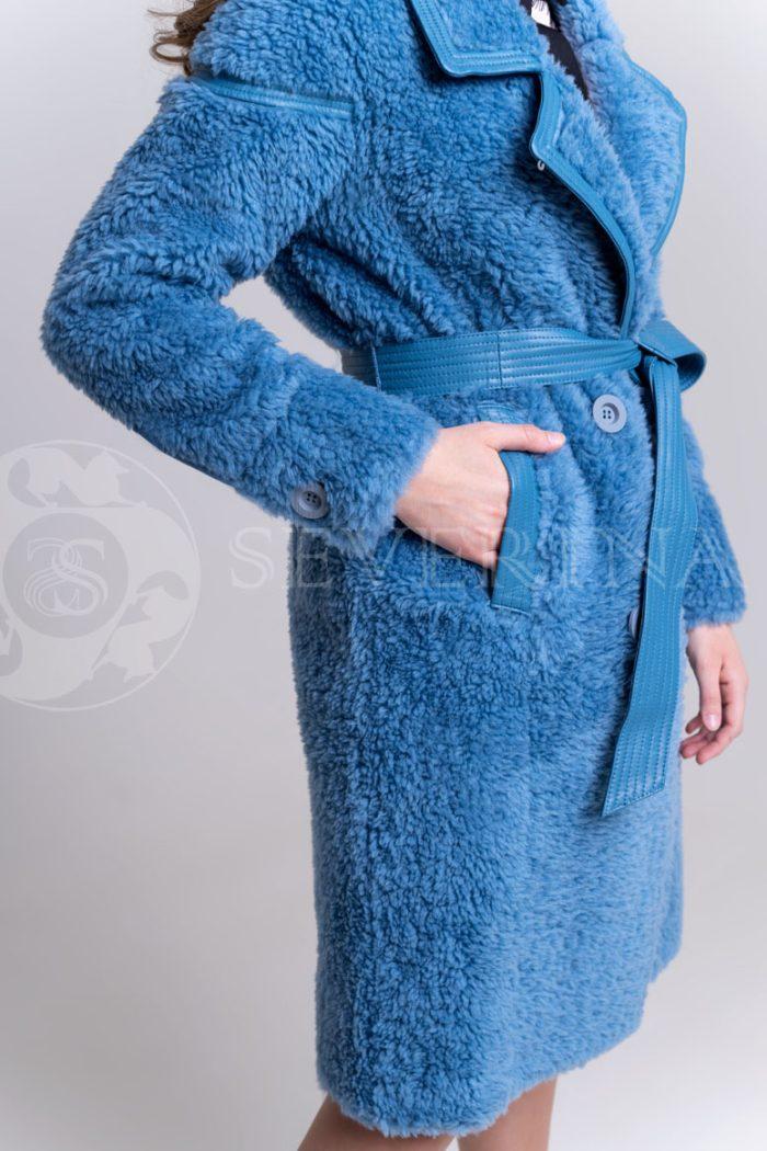 palto jekomeh goluboe4 700x1050 - пальто из овечьей шерсти с кожаной отделкой