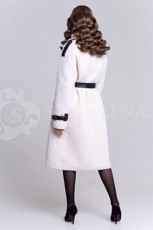 пальто из меха овчины с кожаной отделкой
