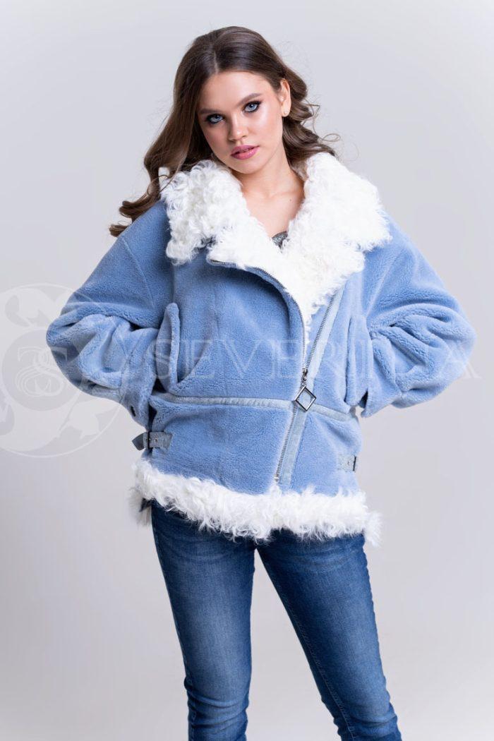 """шуба-куртка """"косуха"""" из меха овчины с отделкой мехом козлика"""