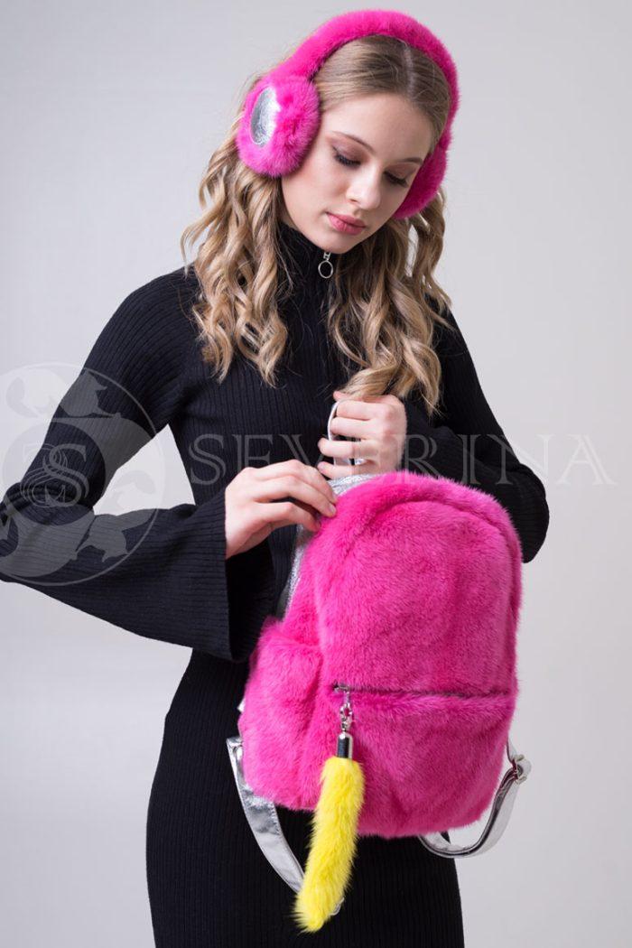 сумка-рюкзак из меха норки розового цвета