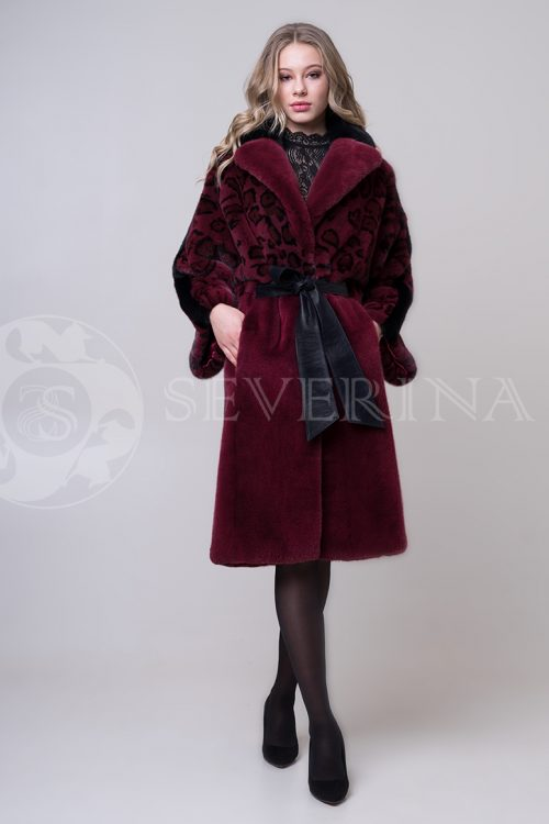 shuba bordo leo norka4 1 500x750 - шуба из меха норки с леопардовыми карманами