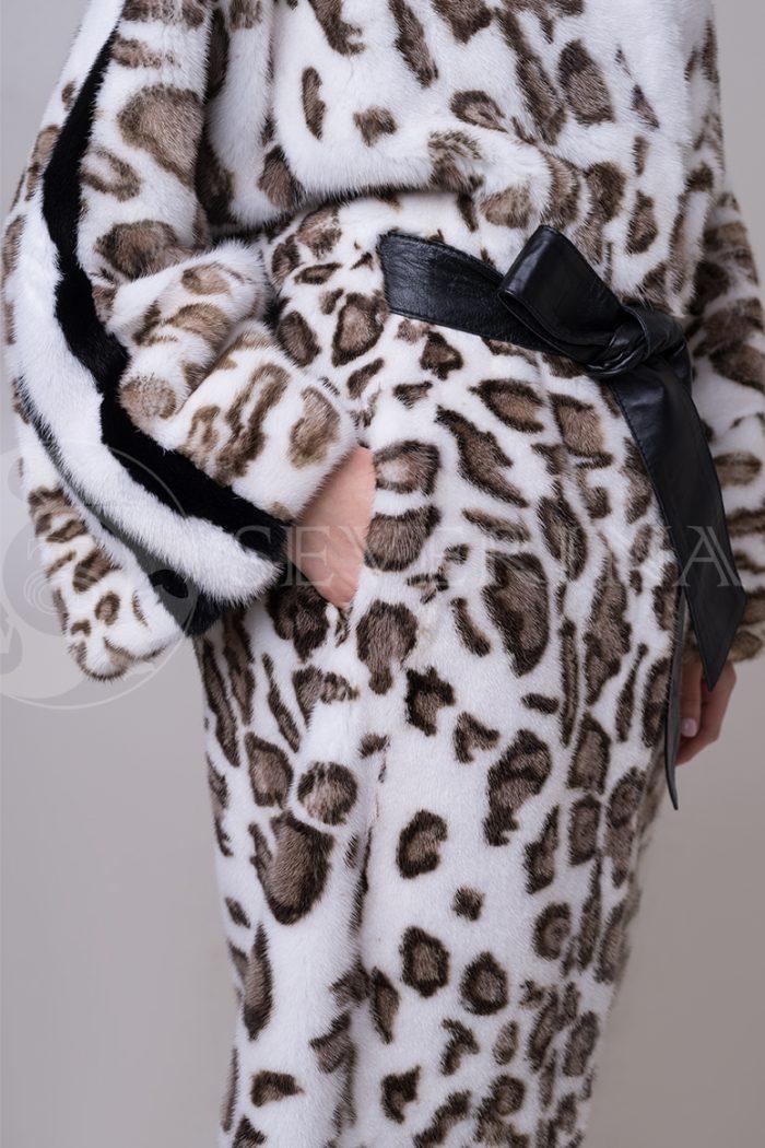 шуба из меха норки с леопардовым принтом