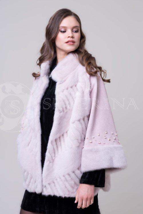 shuba nezhno roz norka korotkaja zhemchug4 500x750 - шуба-полупальто из меха норки нежно-розовового цвета