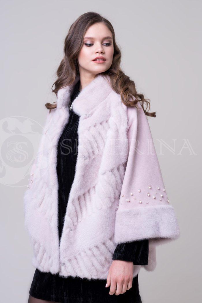 шуба из меха норки нежно-розовового цвета с жемчугом