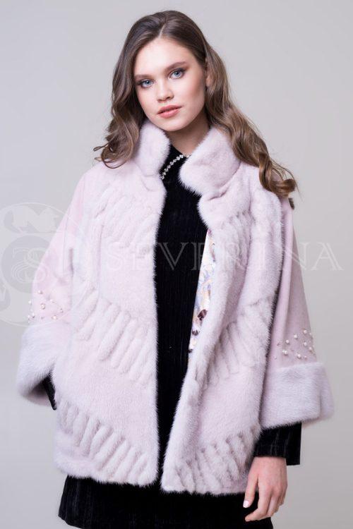 шуба-полупальто из меха норки нежно-розовового цвета