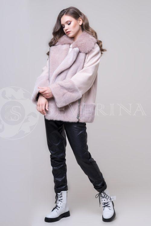 """куртка """"косуха"""" с отделкой из меха норки и песца"""