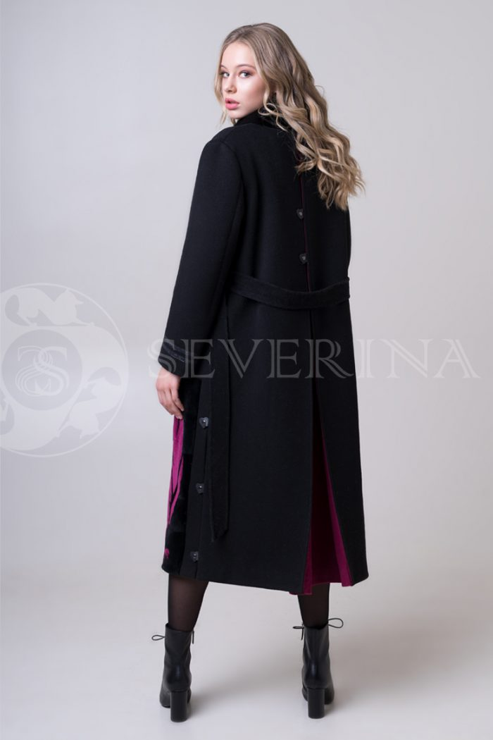 palto chernoe fuksija tigr 3 700x1050 - пальто с инкрустацией цветным мехом норки
