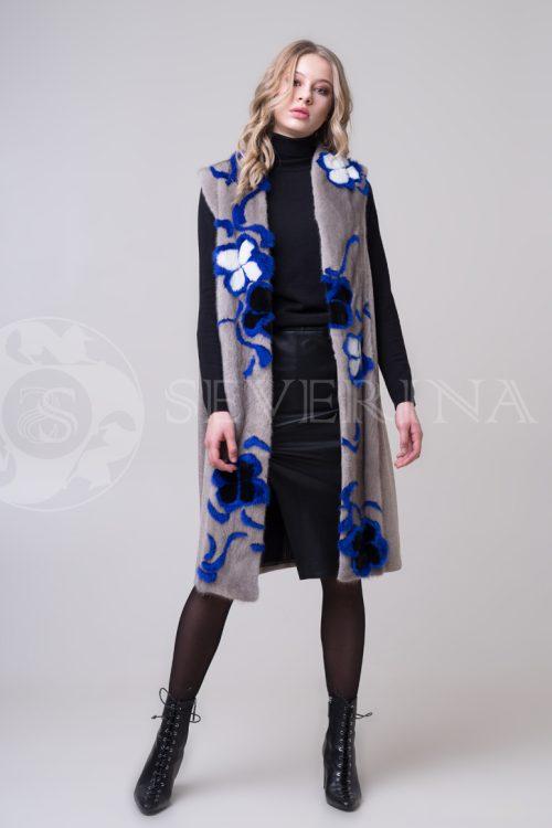 palto mokko norka sinie cvety 4 500x750 - пальто-жилет с инкрустацией цветным мехом норки