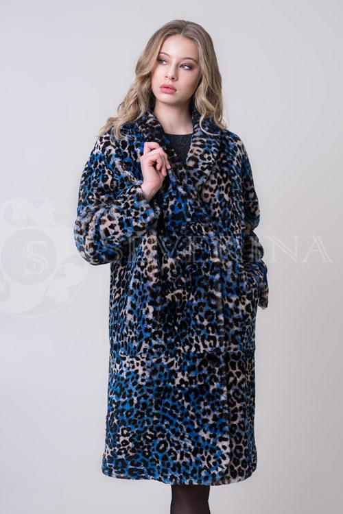 shuba leopard sinij ovchina 2 1 500x750 - шуба из меха норки темно-синего цвета с инкрустацией