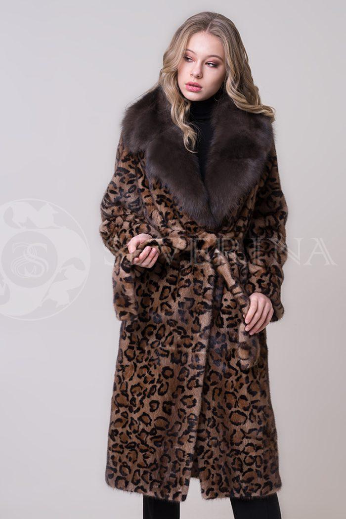 шуба из меха норки с леопардовым принтом и отделкой мехом соболя
