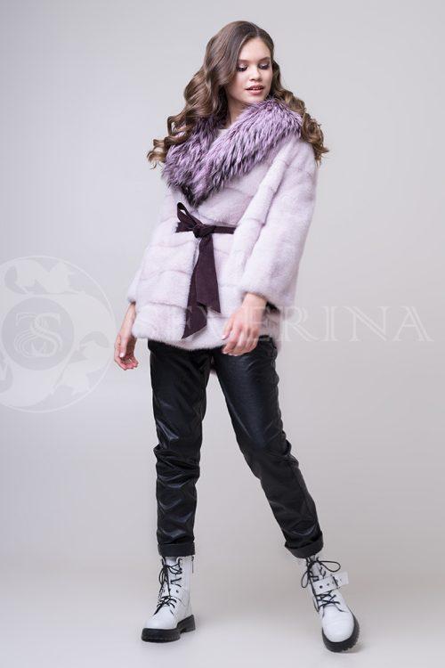 shuba nezhno roz norka s chernoburkoj 3 1 500x750 - шуба-полупальто из меха норки нежно-розовового цвета