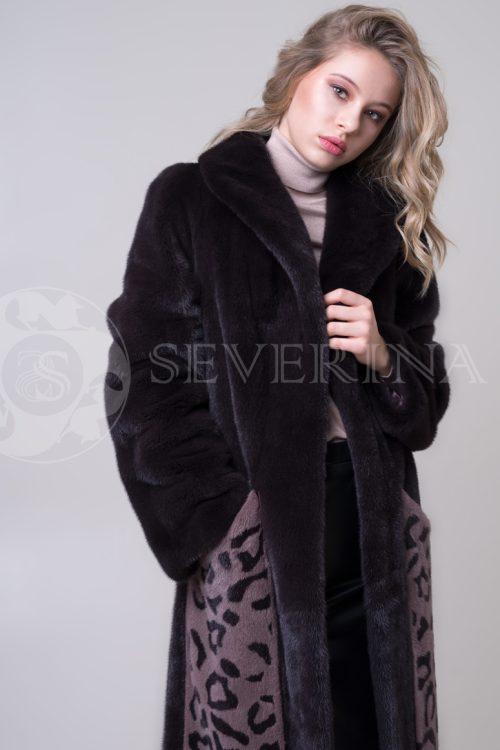 шуба из меха норки с леопардовым принтом на карманах