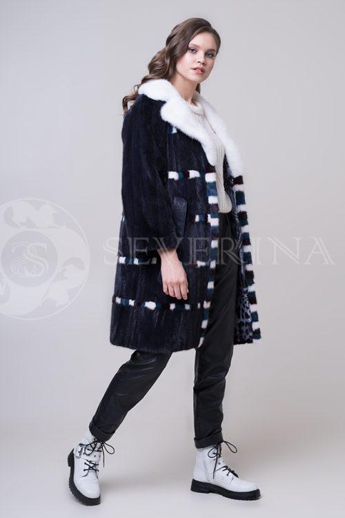 shuba norka t.sin shahmatnyj bort 3 1 500x750 - пальто из меха овчины с отделкой мехом козлика