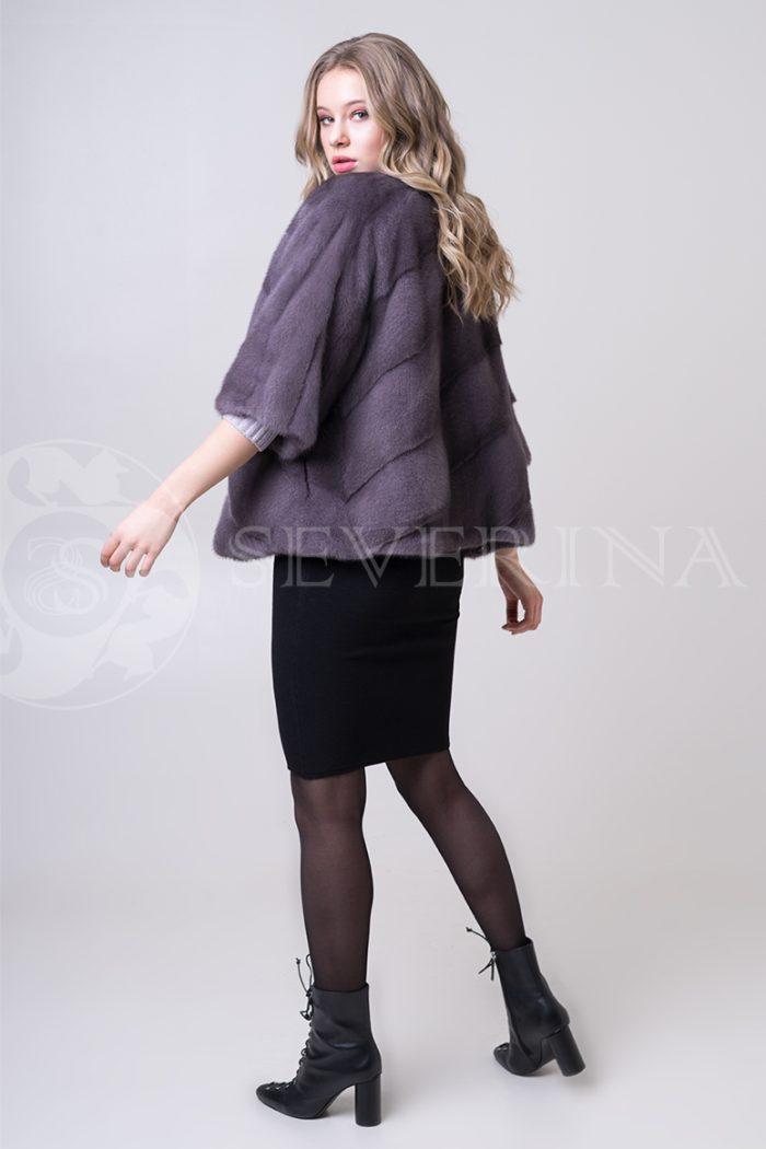 шуба из меха норки темно-фиолетового цвета инжир