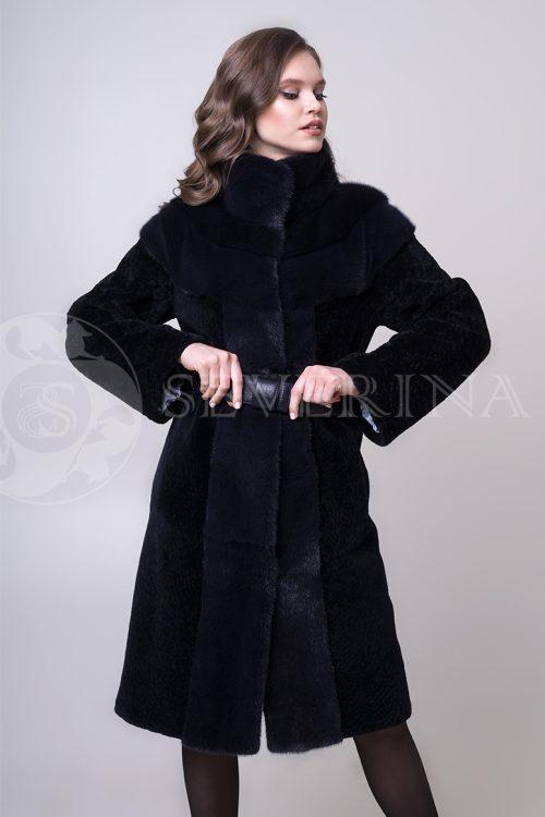 shuba tsin ovchina koketka i bort norka 1 1 500x750 - шуба из меха овчины с отделкой мехом норки
