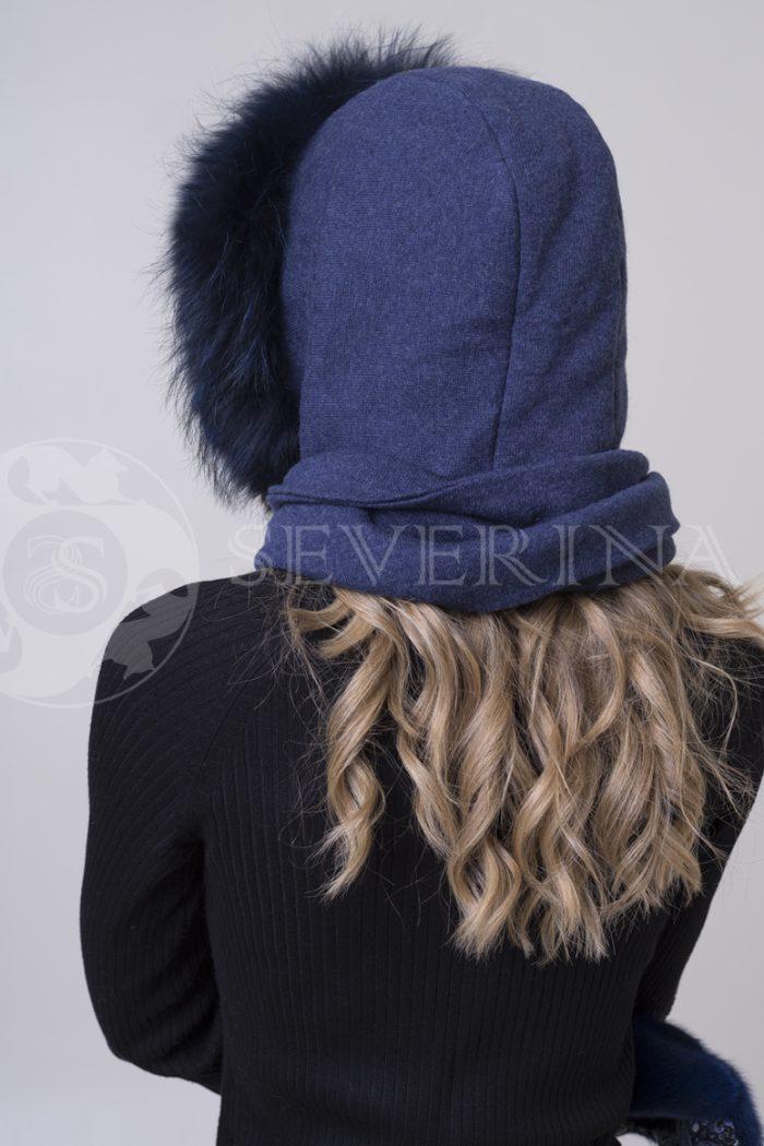платок-капюшон с отделкой из меха песца