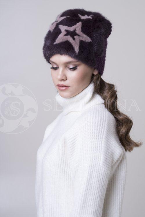 шапка из меха норки с вязаной отделкой