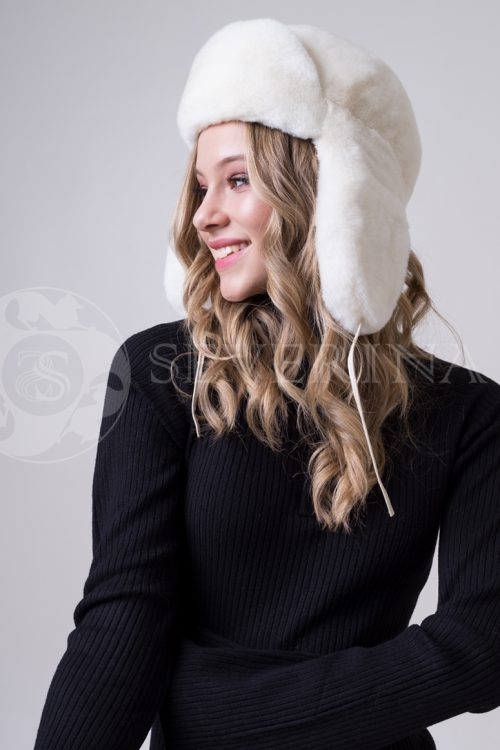shapka ushanka belaja krolik1 500x750 - шапка из меха Rex rabbit