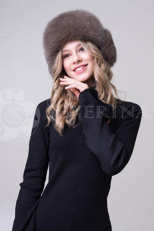 шапка из меха песца и норки