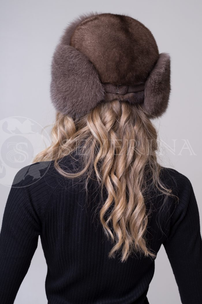 shapka ushanka pesec korichnevyj2 700x1050 - шапка из меха песца и норки