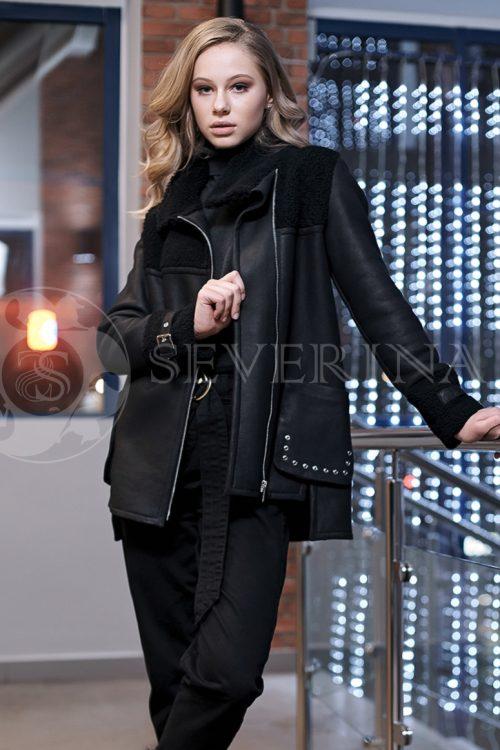 chernaja korotkaja jana 1 500x750 - куртка-дубленка с меховой отделкой