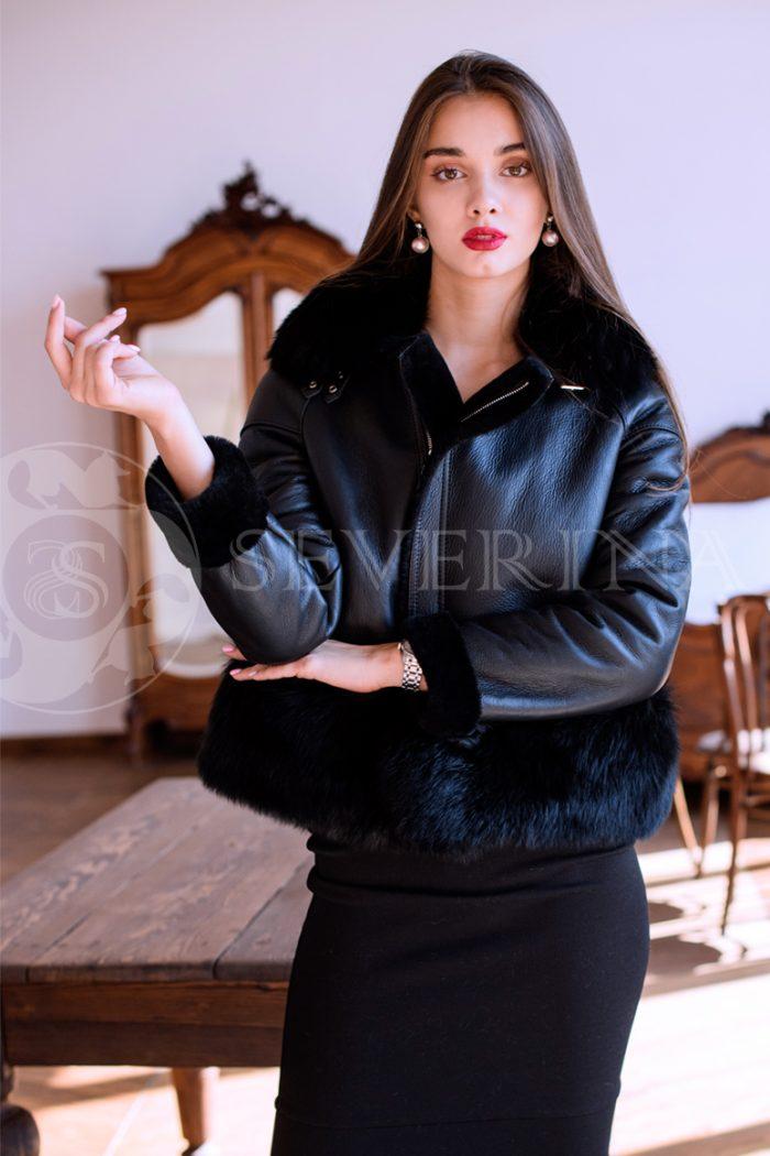 куртка-дубленка с меховой отделкой
