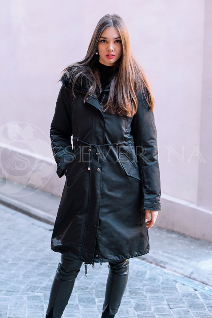 chernaja 1 700x1050 - куртка-парка с отделкой мехом норки