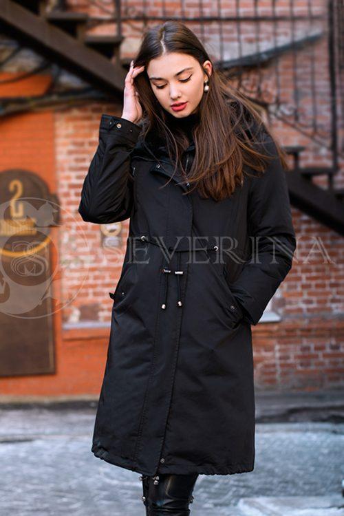 куртка-парка с отделкой мехом норки