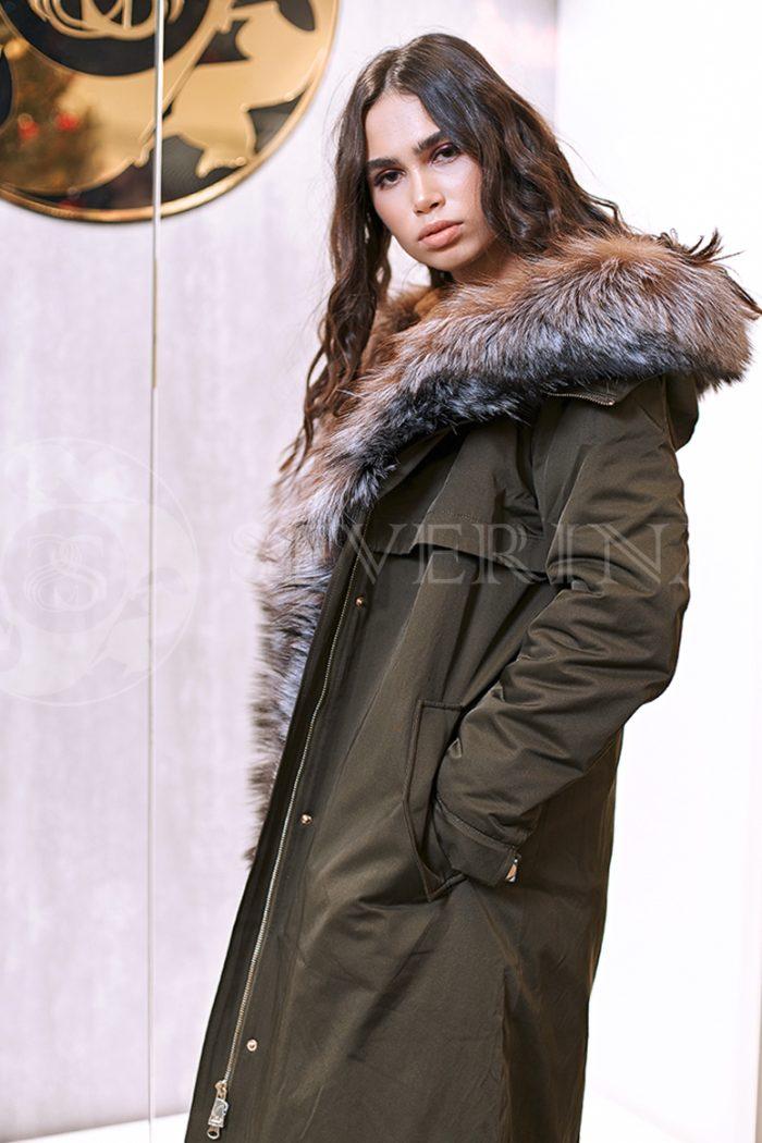 haki lisa 1 700x1050 - куртка-парка с отделкой мехом лисы