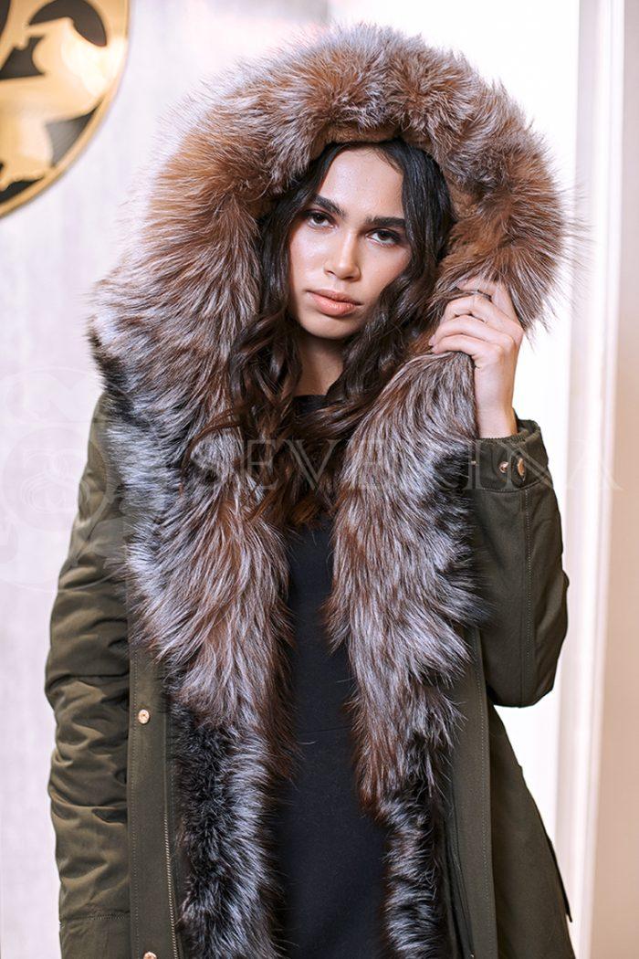 haki lisa 3 700x1050 - куртка-парка с отделкой мехом лисы