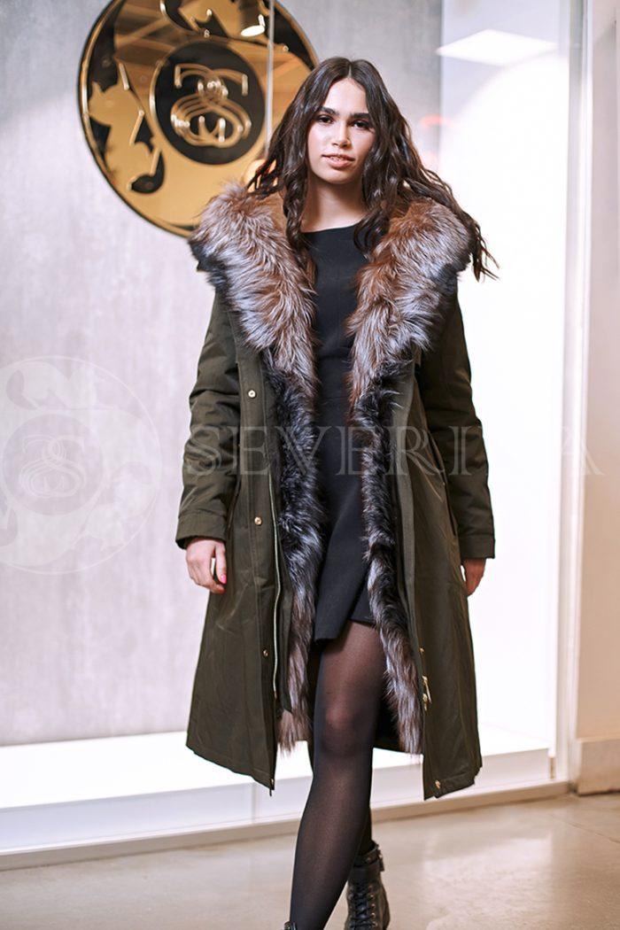haki lisa 4 700x1050 - куртка-парка с отделкой мехом лисы