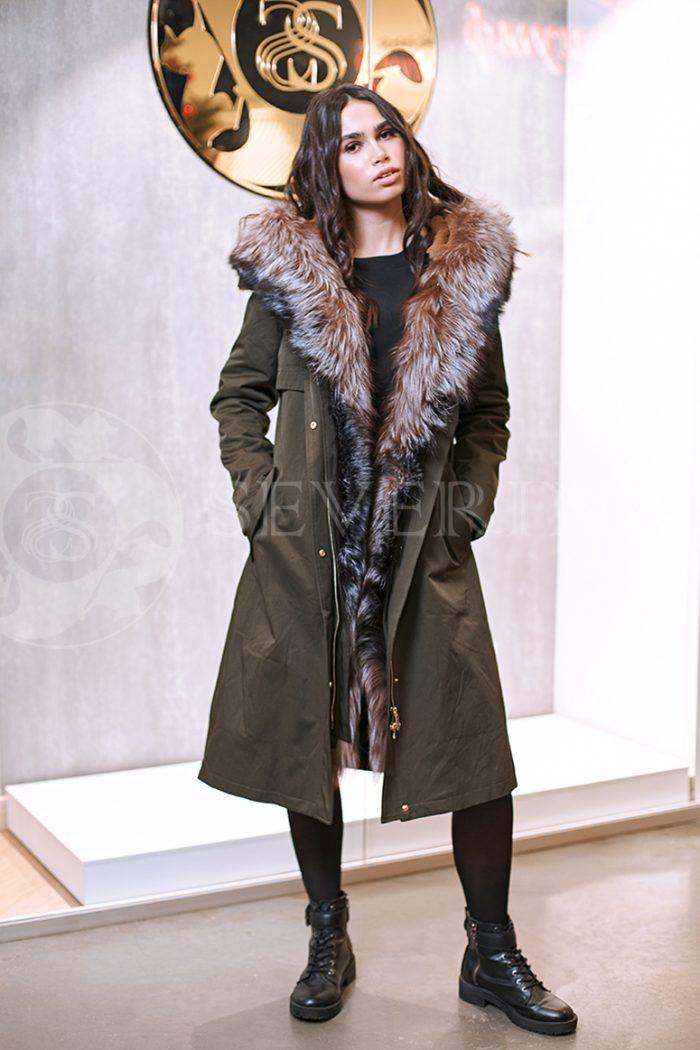 haki lisa 6 700x1050 - куртка-парка с отделкой мехом лисы