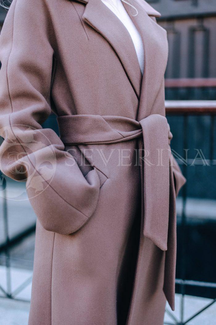 пальто классическое с поясом кофейного цвета