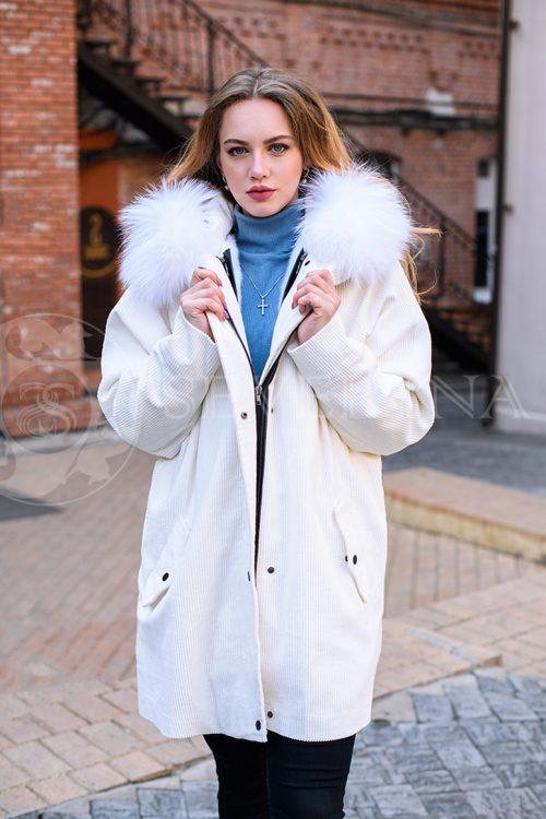 двусторонняя куртка-парка из цветного меха норки