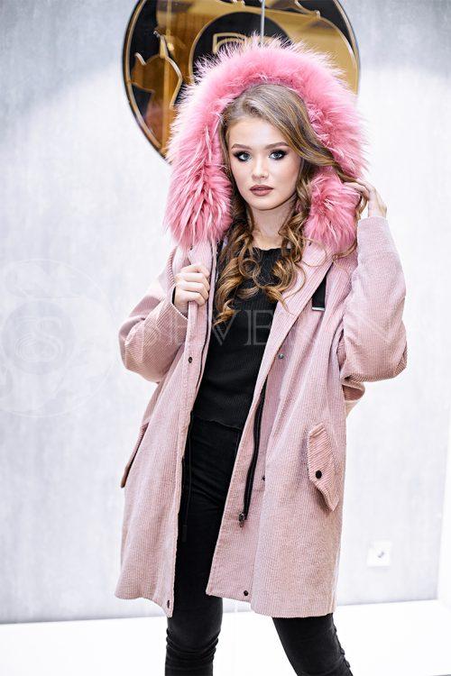 rozovaja velvet 1 500x750 - куртка-парка с отделкой мехом лисы