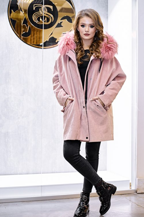 rozovaja velvet 3 500x750 - куртка-парка с отделкой мехом лисы