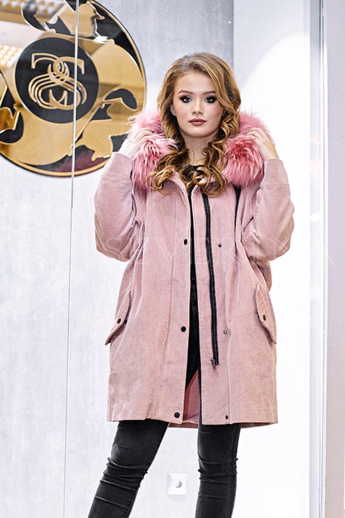 куртка-парка с отделкой мехом лисы