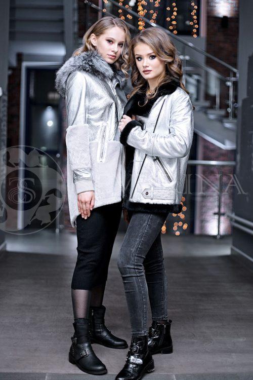 serebristaja2 3 500x750 - куртка-дубленка из металлизированной кожи и овчины с отделкой мехом чернобурки