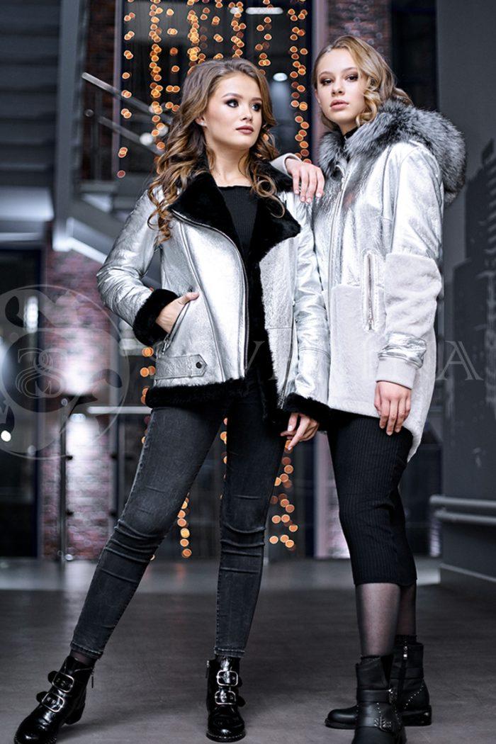 serebristaja2 4 700x1050 - куртка-дубленка из металлизированной кожи и овчины с отделкой мехом чернобурки