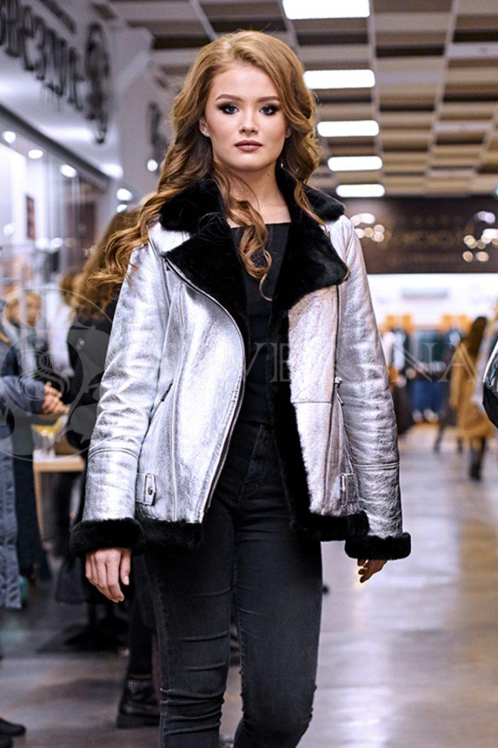 "serebristaja 3 700x1050 - куртка-дубленка ""косуха"" из металлизированной кожи"