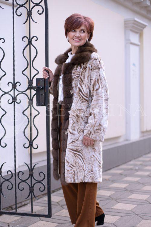 двусторонняя куртка-парка с отделкой мехом соболя