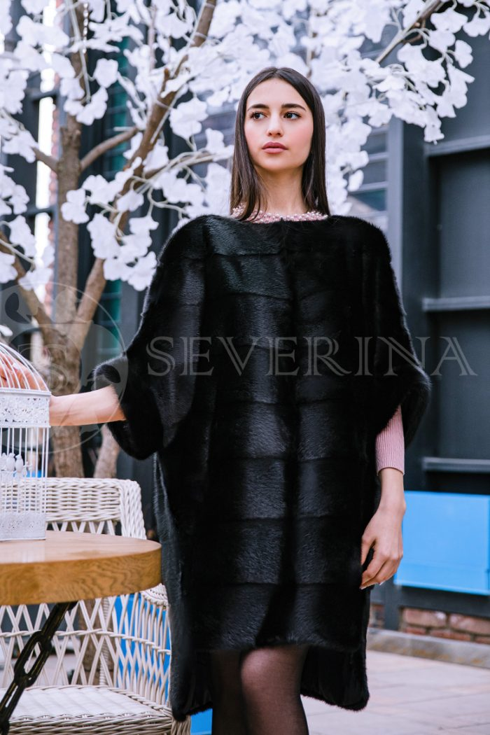 шуба-пончо из меха норки черного цвета