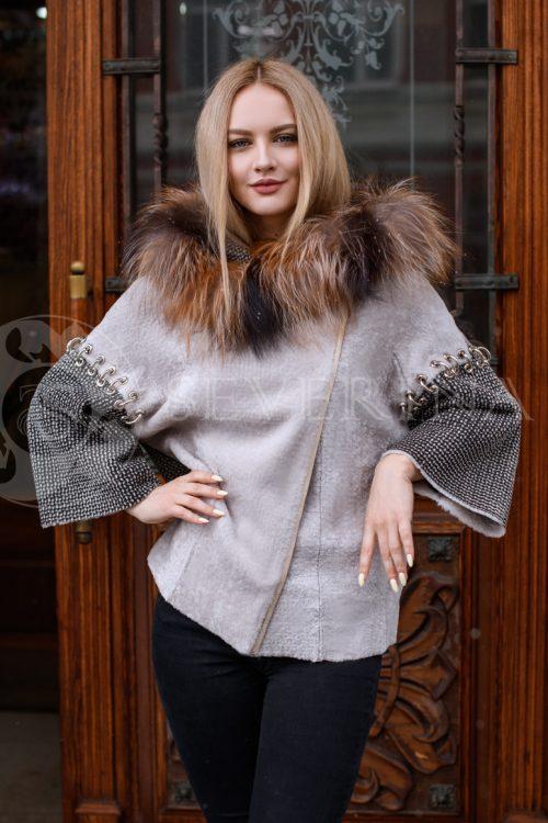двусторонняя куртка-дубленка из меха овчины с отделкой мехом лисы