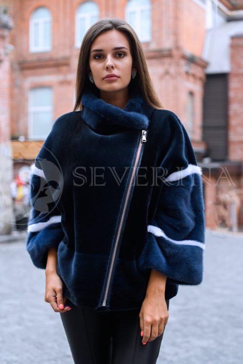 """шуба-куртка """"косуха"""" из стриженного меха бобра с отделкой из меха норки"""