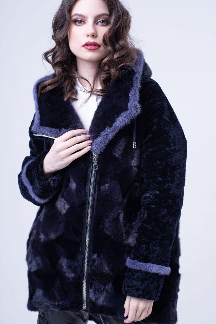шуба-куртка из меха норки и овчины